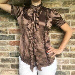 JOIE Ruffle Top Silk Button Up